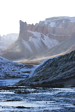Water cascading down the travertine walls of Band-i-Haibat (Dam of Awe), Band-i-Amir, Bamian Province, Afghanistan
