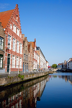 Buildings in the Hanseatic Quarter, as seen from a canal, Bruges (Brugge), West Flanders, Belgium