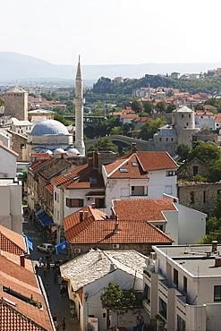 Old Town as seen from the Minaret of the Karadjozbeg Mosque, Mostar, Herzegovina-Neretva, Bosnia & Herzegovina