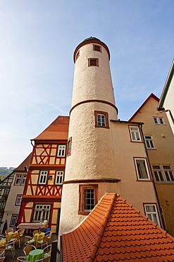 Round tower on the Kirchplatz, Wertheim am Main, Baden-Württemberg, Germany