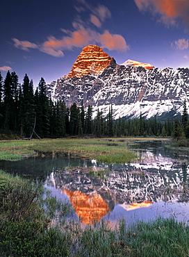 Mount Chephren and Mistaya River Oxbow, Banff National Park, Alberta.