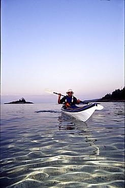 Kayaking on Lake Superior, Ontario.