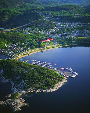 Aerial view of Tadoussac and Tadoussac Bay, Saguenay-St.Lawrence Marine Park, Manicouagan