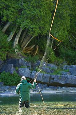 Fisherman on Bonaventure River at Sunrise, Gaspesie Region, Quebec