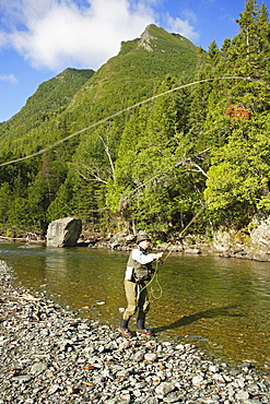 Fisherman on Cap-Chat River, Gaspesie Wildlife Reserve, Quebec