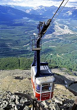 Cablecar going towards a Summit, Mount Edith Cavell, Jasper, Alberta