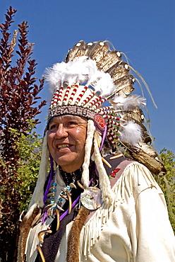 Cree Nation Man in Traditional Dance Regalia, Kamloopa Pow Wow, Kamloops, British Columbia