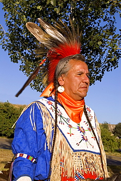 Man in Traditional Dance Regalia, Kamloopa Pow Wow, Kamloops, British Columbia