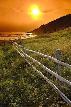 Fence and Sunset, Gooseberry Cove, Avalon Peninsula, Newfoundland