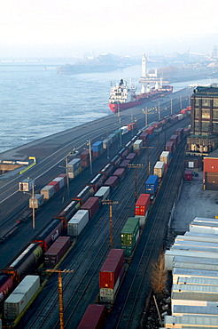 Freight Trains along the Old Port, Montreal, Quebec
