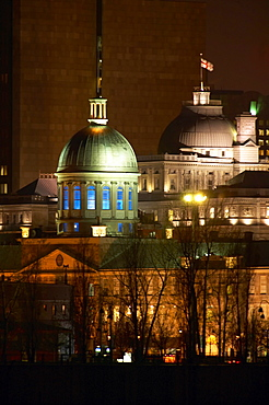 View of Old Montreal at Night, Montreal, Quebec