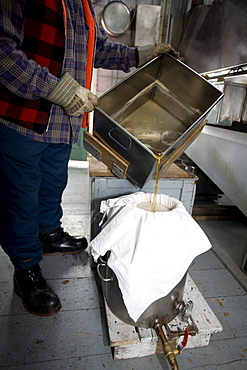 Man Filtering Maple Syrup before Bottling, Sugar Cabin, St Mathieu du Lac, La Mauricie County, Quebec
