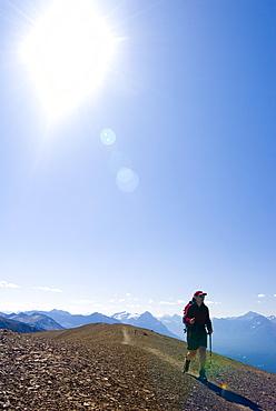 Woman Hiking on the Skyline Trail, Jasper National Park, Alberta