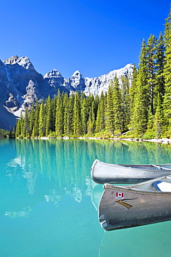 Canoes in Moraine Lake and Valley of the Ten Peaks, Banff National Park, Alberta