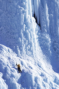 Ice Climber on The Weeping Wall, Icefields Parkway, Banff National Park, Alberta