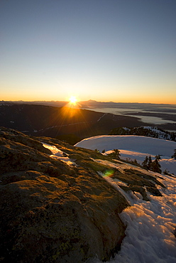 Sunrise over the Lower Mainland, seen from Mt Seymour Coast Mountains, Vancouver, British Columbia