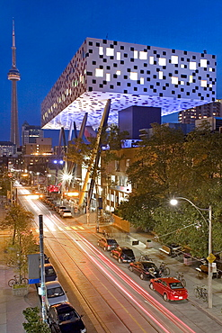 Ontario College of Art and Design with the CN Tower in the background at Night, Toronto, Ontario