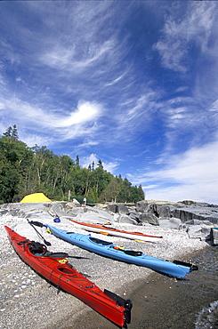 Kayaks along Shore of Lake Superior, Wawa, Ontario