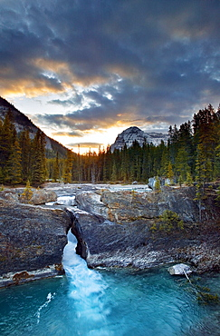 Kicking Horse River at the Natural Bridge, Yoho National Park, British, Columbia.