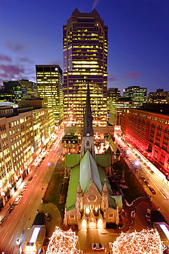 Christ Church Cathedral and Skyscraper at Twilight, Montreal, Quebec