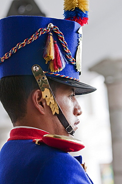 Honour Guard standing in front of Palacio de Carondelet (Presidential Palace), Quito, Pichincha, Ecuador