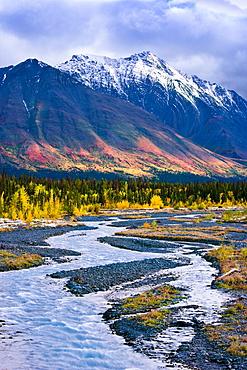 Quill Creek and Kluane Range in fall, Kluane National Park, Yukon