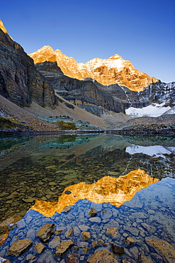 Opabin Plateau, Opabin Lake and Hungabee Mountain at sunset, Yoho National Park, British Columbia