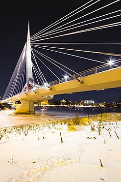 Esplanade Riel bridge crossing the Red River connecting downtown Winnipeg to St. Boniface, Winnipeg, Manitoba