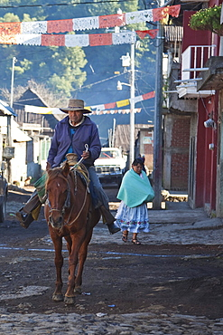 Man on horseback, Angahuun, Michoacun, Mexico
