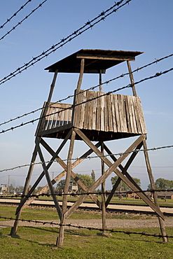 Watchtower along the 'Selektionsrampe', the platform where people where selected to die in the gas chambers immediately or to work to death at the Auschwitz-Birkenau Concentration Camp, Auschwitz-Birkenau Concentration Camp, Oswiecim, Malopolska, Poland