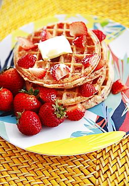 Hawaii, Oahu, Breakfast fresh fruit waffle.