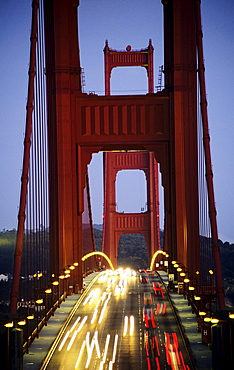 California, San Francisco, Golden Gate Bridge, Blurred traffic lights at evening.