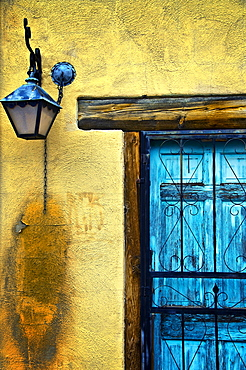 Walls and Details I, New Mexico, Details of old blue door and yellow wall.