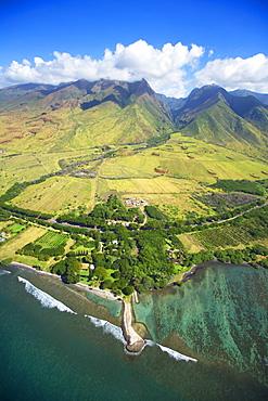 Hawaii, Maui, Aerial view of Olowalu area.