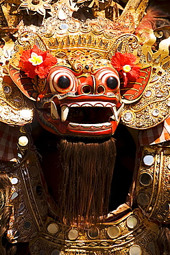 Indonesia, Bali, Batubulan Village, Barong Dance, dancer in costume.