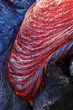 Hawaii, Big Island, Hawaii Volcanoes National Park, Kilauea Volcano, Detail of molten pahoehoe lava.