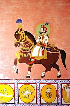 India, Rajasthan, Dungarpur, Juna Mahal Palaces, detail of fresco.