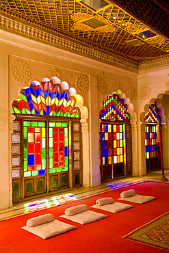 India, Rajasthan, Jodhpur at Fort Mehrangarh, beautiful temple for royals, color and stained glass windows of Fort Palace.