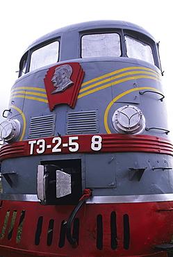 Mongolia, Retired train museum, Trans-Siberian Railroad, Detail of old steam train.