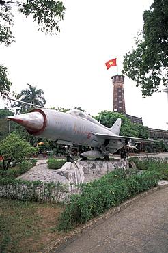 Vietnam, Hanoi, Army Museum, Russian Plane Mig-21, on display outside.