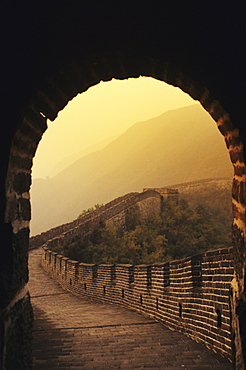 China, Mu Tian Yu, The Great Wall of China, view from inside a tower, misty sky
