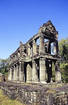 Cambodia, Siem Reap, Angkor, Prah Khan Temple, exterior of stone structure