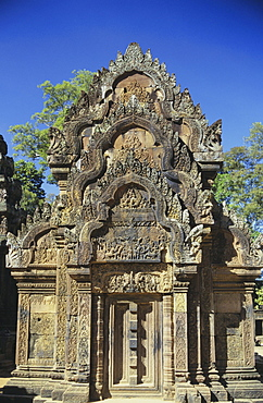 Cambodia, Siem Reap, Angkor, Banteay Srei Temple, exterior of stone structure