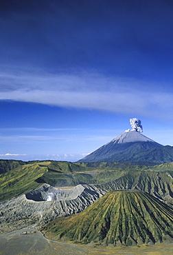 Indonesia, Java, Bromo Tengger Semeru National Park overview, volcano erupts background
