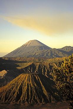 Indonesia, Java, Bromo Tengger Semeru National Park, view of craters ingolden light