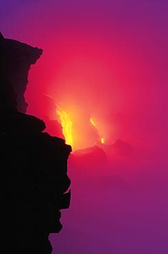 Hawaii, Big Island, Kilauea Volcano, Lava Meets the sea Pouring Lava