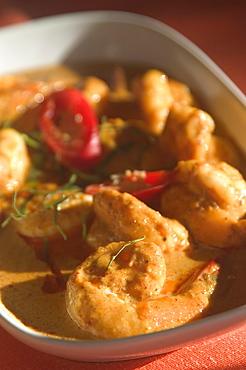 Thailand, Phuket, Plate of Curry shrimp (Penang Kung)