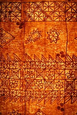 Traditional Polynesian tapa, hand printed paper bark cloth.