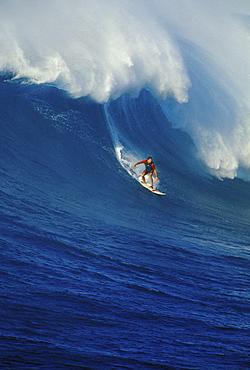 Hawaii, Maui, North Shore, Buzzy Kerbox surfs large curling wave, Jaws aka Peahi