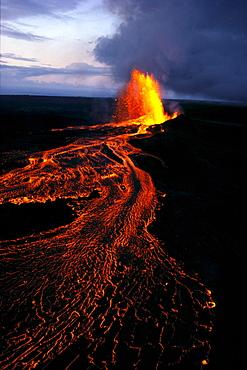 Hawaii, Big Island, Kilauea Volcano, eruption, river of lava, aerial shot A26D